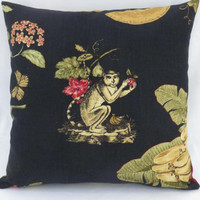 "Tropical Monkey Pillow on Black Linen, Waverly Print, Fruit and Flowers, Red Green Gold Orange, 17"" Sq, Cover Only or Insert  Incl."