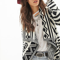 FOREVER 21 Geo-Patterned Shawl Cardigan Cream/Black