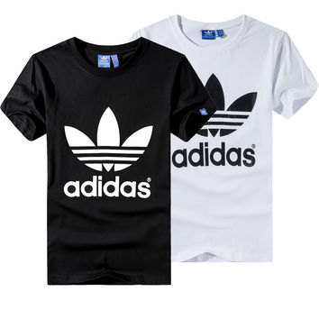 """Adidas"" Unisex Fashion Casual Classic Clover Letter Print Short Sleeve T-shirt Couple Shirt Top Tee"
