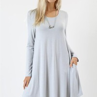Fall Swing Dress - Grey Mist