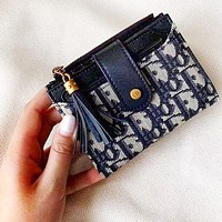 Dior Multifunction Wallet-Card Holder-Beautiful Color-Super Multi Card Dark Blue
