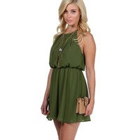 Olive Soft Pleats Dress