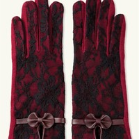 Bordeaux Lace Touchscreen Gloves - Burgundy Lace Gloves