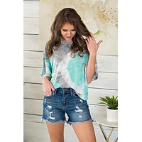Clearwater Beach Tie Dye Vintage Top : MInt/Grey