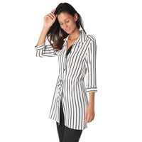 STRIPE BLOUSE IN MID LENGTH WITH TIE DETAIL