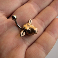 Cow head belly button ring