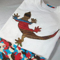 Toddler Boy shorts and Shirt - Appliqued Lizard short Outfit - Boys Summer Clothes