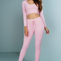Janie Ribbed Knit Cropped Jogger Set - Blush
