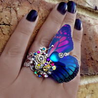 Steampunk ring, butterfly ring, rainbow ring, silver steampunk, filigree ring, cocktail boho ring,  OOAK, magic ring, watch gear ring, art