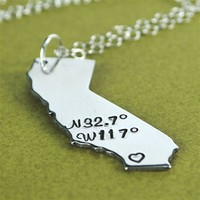 State Coordinates Necklace - Spiffing Jewelry