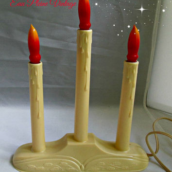Vintage Christmas Electric Window Candlelites Candleabra Three Bulbs