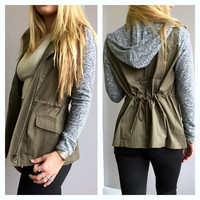 A Grey and Olive Hoodie Jacket