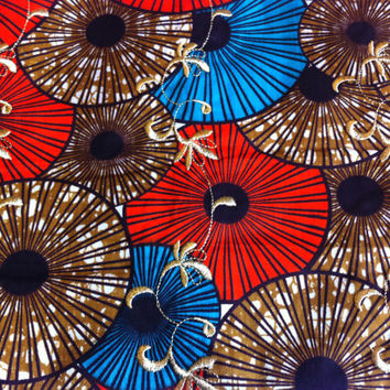 African Wax Print Fabric by the HALF YARD. Orange, Teal, Tan and Gold--Parasols with Gold Embroidery