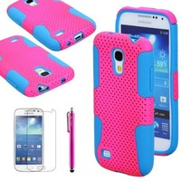 The Friendly Swede 1 x Hybrid (2 in 1) Silicone Case Cover Skin for Samsung Galaxy SIV Mini S4 Mini i9190 / i9192 / i9195 / i9198 + 1 Matching Stylus + 1 Screen Protector in Retail Packaging (Hot Pink + Light Blue)