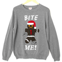 Bite Me Gingerbread Man Tacky Ugly Christmas Sweater