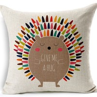 Hedgehog Hugs Throw Pillow