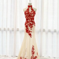 High Neck Prom Dress,Red Appliques Prom Dresses,Evening Dresses