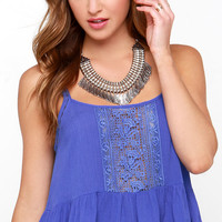 Fairy Trail Blue Lace Crop Top
