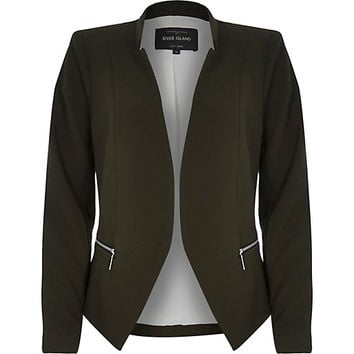 River Island Womens Khaki crepe fitted notch collar jacket