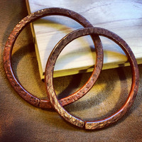 """4g Solid Copper Hammered Hoops - Earrings for Stretched Lobes, 3"""" Outer Diameter - Gauges - Gauged Hoops"""