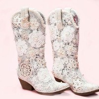 """White Cowgirl Boots """"Grace"""""""