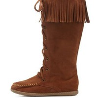 Cognac Lace-Up Fringe Moccasin Boots by Charlotte Russe