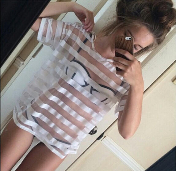 Image of FASHION STRIPED SHORT-SLEEVED TOPS
