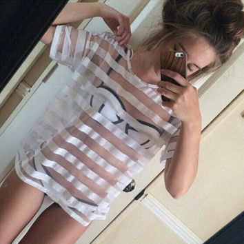 FASHION STRIPED SHORT-SLEEVED TOPS