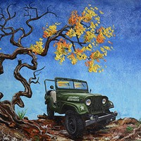 """Jeep Willys, M38A1, Army, Print of my original painting, Jeep,1953, fathers day, gift, christmas, present, men, man, 11""""x14"""", US Army Jeep, Off Road, Desert"""