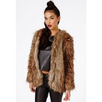 Missguided - Adele Long Haired Faux Fur Coat