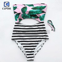 CUPSHE Women Leaves Stripe Printing Halter One-piece Swimsuit