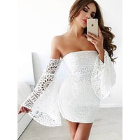 Peony White lace coctail dress