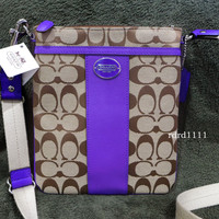 NWT COACH LEGACY SWINGPACK Khaki/Ultraviolet SIGNATURE CROSSBODY BAG PURSE NEW