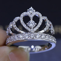 Women Crown ring Handmade 1.5ct Simulated diamond Cz 925 Sterling silver Engagement Wedding Band Ring for women Gift