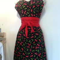 Vintage Inspired Pin-Up Girl Apron, Vintage Red Cherries on Black with White Polka Dots