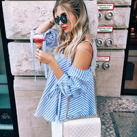 2017 Off The Shoulder Neckline Shirt Blouse Top Casual Party Playsuit Clubwear Bodycon Boho Top Shirt T-Shirt [10319971727]