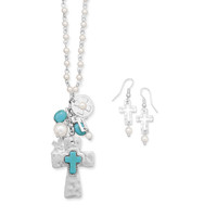 Cross Fashion Necklace and Earring Set with Magnesite