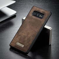 NEW Magnetic Hold Vintage Suede Leather Phone Case For Samsung Galaxy S10