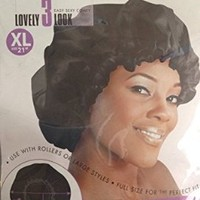 X-Large 21'' Satin Bonnet Black, Breathable, comfortable material, soft material, elastic band, keeps hair in place, perfect fit, sleeping cap, won't fall off, use with rollers, hair rollers, curls, hair rods