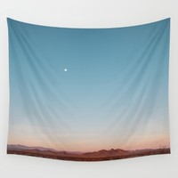 Desert Sky with Harvest Moon Wall Tapestry by Los Adventures