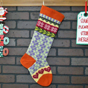 Hand Knit Argyle Christmas Stocking, Fair Isle Christmas Stocking with Pink Hearts, Orange Cuff, Heel and Toe, can be personalized
