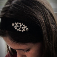 Vintage rhinestone, pearl cabochon and silver tone metal, black stretch lace hairpiece