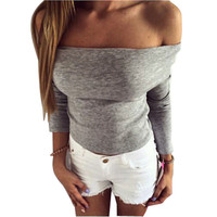Autumn Winter Crop Top Off Shoulder Grey Long Sleeve