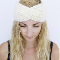 Headband Hand Knit Ear Warmer Head Warmer Hair Accessories Choose Color Winter Hairband Knit White Turban