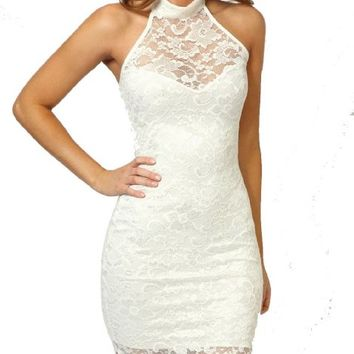 Women's Sexy Polo Neck Floral Lace Cocktail Evening Mini Dress Party Clubwear (White)