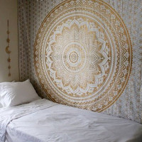 Tapestry Gold Ombra Mandala Tapestry, Queen Indian Mandala Wall Art Hippie Wall Hanging Bohemian Bedspread