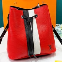 Louis Vuitton LV Fashion Leather Shoulder Bag Women Bucket Bag Red