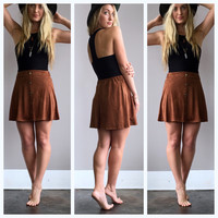 A Crushed Velvet Mini Skirt in Coco