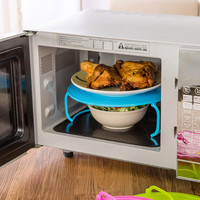 Kitchen Microwave Oven Shelf Bowls Layered Disc Tray Rack PP Material Shelving Double-Insulated Potholders Multifunction KC1373