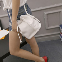 Bucket Bag Candy Color Quality PU Leather crossbody bag